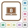 Laptop with Bitcoin sign simple icons - Laptop with Bitcoin sign simple icons in color rounded square frames on white background