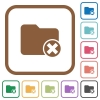 Cancel directory simple icons - Cancel directory simple icons in color rounded square frames on white background