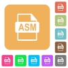 ASM file format flat icons on rounded square vivid color backgrounds. - ASM file format rounded square flat icons
