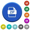 ZIP file format beveled buttons - ZIP file format round color beveled buttons with smooth surfaces and flat white icons