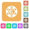 Euro casino chip rounded square flat icons - Euro casino chip flat icons on rounded square vivid color backgrounds.
