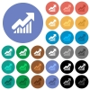Rising graph round flat multi colored icons - Rising graph multi colored flat icons on round backgrounds. Included white, light and dark icon variations for hover and active status effects, and bonus shades on black backgounds.