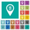 Restaurant GPS map location square flat multi colored icons - Restaurant GPS map location multi colored flat icons on plain square backgrounds. Included white and darker icon variations for hover or active effects.