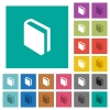 Single book square flat multi colored icons - Single book multi colored flat icons on plain square backgrounds. Included white and darker icon variations for hover or active effects.