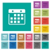 Hanging calendar square flat multi colored icons - Hanging calendar multi colored flat icons on plain square backgrounds. Included white and darker icon variations for hover or active effects.