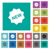 New badge square flat multi colored icons - New badge multi colored flat icons on plain square backgrounds. Included white and darker icon variations for hover or active effects.