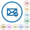 Mail forwarding icons with shadows and outlines - Mail forwarding flat color vector icons with shadows in round outlines on white background