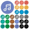 Music note round flat multi colored icons - Music note multi colored flat icons on round backgrounds. Included white, light and dark icon variations for hover and active status effects, and bonus shades on black backgounds.