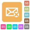 Delete mail rounded square flat icons - Delete mail flat icons on rounded square vivid color backgrounds.