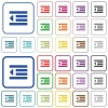 Decrease text indentation outlined flat color icons - Decrease text indentation color flat icons in rounded square frames. Thin and thick versions included.