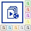 Share playlist flat color icons in square frames on white background - Share playlist flat framed icons