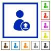 Upload user account flat framed icons - Upload user account flat color icons in square frames on white background