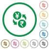 Yen Rupee money exchange flat icons with outlines - Yen Rupee money exchange flat color icons in round outlines on white background