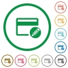 Edit credit card flat icons with outlines - Edit credit card flat color icons in round outlines on white background