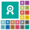Award with ribbons square flat multi colored icons - Award with ribbons multi colored flat icons on plain square backgrounds. Included white and darker icon variations for hover or active effects.