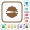 Bonus sticker simple icons - Bonus sticker simple icons in color rounded square frames on white background