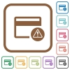 Credit card warning simple icons - Credit card warning simple icons in color rounded square frames on white background