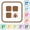 Component bug simple icons - Component bug simple icons in color rounded square frames on white background