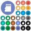 Micro SD memory card round flat multi colored icons - Micro SD memory card multi colored flat icons on round backgrounds. Included white, light and dark icon variations for hover and active status effects, and bonus shades on black backgounds.