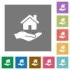 Home insurance square flat icons - Home insurance flat icons on simple color square backgrounds