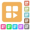 Component play rounded square flat icons - Component play flat icons on rounded square vivid color backgrounds.