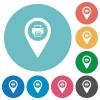 Print GPS map location flat round icons - Print GPS map location flat white icons on round color backgrounds