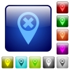 Cancel GPS map location color square buttons - Cancel GPS map location icons in rounded square color glossy button set
