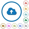 Cloud upload icons with shadows and outlines - Cloud upload flat color vector icons with shadows in round outlines on white background