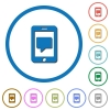 Mobile messaging icons with shadows and outlines - Mobile messaging flat color vector icons with shadows in round outlines on white background