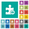 Printer plugin square flat multi colored icons - Printer plugin multi colored flat icons on plain square backgrounds. Included white and darker icon variations for hover or active effects.