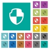Shield square flat multi colored icons - Shield multi colored flat icons on plain square backgrounds. Included white and darker icon variations for hover or active effects.