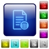 Delete document color square buttons - Delete document icons in rounded square color glossy button set