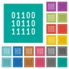 Binary code square flat multi colored icons - Binary code multi colored flat icons on plain square backgrounds. Included white and darker icon variations for hover or active effects.