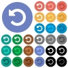 Undo changes round flat multi colored icons - Undo changes multi colored flat icons on round backgrounds. Included white, light and dark icon variations for hover and active status effects, and bonus shades on black backgounds.