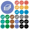 Printing papers round flat multi colored icons - Printing papers multi colored flat icons on round backgrounds. Included white, light and dark icon variations for hover and active status effects, and bonus shades on black backgounds.