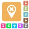 Cancel GPS map location rounded square flat icons - Cancel GPS map location flat icons on rounded square vivid color backgrounds.