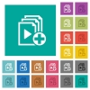 Add new item to playlist square flat multi colored icons - Add new item to playlist multi colored flat icons on plain square backgrounds. Included white and darker icon variations for hover or active effects.