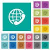 International call square flat multi colored icons - International call multi colored flat icons on plain square backgrounds. Included white and darker icon variations for hover or active effects.