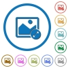 Resize image large icons with shadows and outlines - Resize image large flat color vector icons with shadows in round outlines on white background