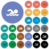 Swimming man round flat multi colored icons - Swimming man multi colored flat icons on round backgrounds. Included white, light and dark icon variations for hover and active status effects, and bonus shades on black backgounds.