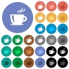 Cappuccino round flat multi colored icons - Cappuccino multi colored flat icons on round backgrounds. Included white, light and dark icon variations for hover and active status effects, and bonus shades on black backgounds.
