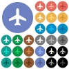 Airplane round flat multi colored icons - Airplane multi colored flat icons on round backgrounds. Included white, light and dark icon variations for hover and active status effects, and bonus shades on black backgounds.