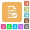 Document ok rounded square flat icons - Document ok flat icons on rounded square vivid color backgrounds.