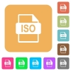 ISO file format rounded square flat icons - ISO file format flat icons on rounded square vivid color backgrounds.