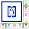 Smartphone unlock flat framed icons - Smartphone unlock flat color icons in square frames on white background