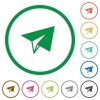 Paper plane flat icons with outlines - Paper plane flat color icons in round outlines on white background