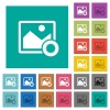 Authentic image square flat multi colored icons - Authentic image multi colored flat icons on plain square backgrounds. Included white and darker icon variations for hover or active effects.