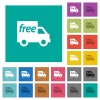 Free shipping square flat multi colored icons - Free shipping multi colored flat icons on plain square backgrounds. Included white and darker icon variations for hover or active effects.