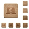 Laptop with Euro sign wooden buttons - Laptop with Euro sign on rounded square carved wooden button styles