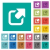 Export symbol with upper right arrow square flat multi colored icons - Export symbol with upper right arrow multi colored flat icons on plain square backgrounds. Included white and darker icon variations for hover or active effects.